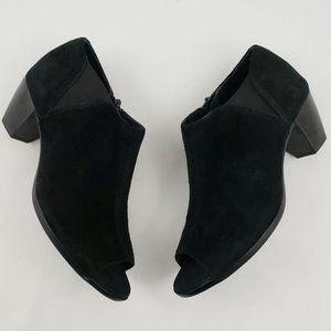 Munro Eve Suede Peep Toe Booties Black 8 1/2 M